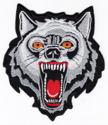 Biker Wolf Head Iron on Backing Embroidered Patch Heat Seal Motorcycle Appliques