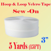 7.6cm (Inch) Width Black or White Sew on Hook & Loop - Premium Grade Non-adhesive Sew-on Style Sold Includes Hook and Loop Both Strips Interlocking Tape Sold By 5, 10, 27 Yards