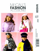 McCall's 4938 Sewing Pattern Girls Hats Scarves Tote Bag Cell Phone Case