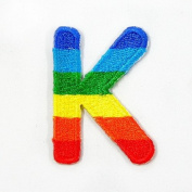 K Character Letter Alphabet Rainbow Appliques Hat Cap Polo Backpack Clothing Jacket Shirt DIY Embroidered Iron On / Sew On Patch