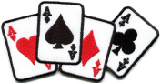 Four Aces Playing Cards Biker Retro Poker Las Vegas Applique Iron-on Patch S-584 Handmade Design From Thailand