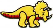 Triceratops Cretaceous Dinosaur Lizard Kids Fun Applique Iron-on Patch New S-299 Handmade Design From Thailand
