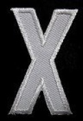 X English Alphabet Letter Character White 5.1cm Appliques Hat Cap Polo Backpack Clothing Jacket Shirt DIY Embroidered Iron On / Sew On Patch #2