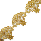 Metallic Gold Lace Trim, Crafts and Sewing, 6.7cm by 1 Yard, LP-1680