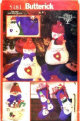 Butterick 5181 Crafts Sewing Pattern Snow Jinglers Christmas Ornaments Tree Skirt Stockings Cardholder