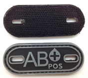 Matrix PVC Oval Blood Type Patch - AB POS / Black