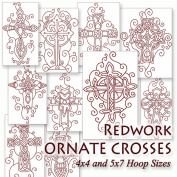 Redwork Ornate Crosses Christian Embroidery Machine Designs on CD - Multiformat