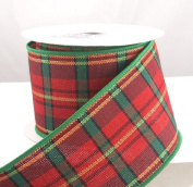 Red Plaid New Wired Christmas Ribbon 6.4cm or #40 - 10 Yards
