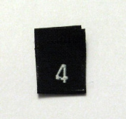 Size 4 (Four) Black Woven Clothing Size Labels