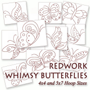 Whimsy Butterflies Redwork Embroidery Machine Butterfly Designs on CD - Multiformat