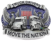 Truck Drivers Move the Nation American Flag Metal Belt Buckle