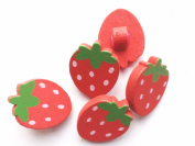 100pcs Mixed Wooden Buttons in Bulk Buttons for Crafts Red Strawberry Bu-13