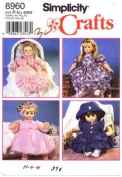 Simplicity 8960 Crafts Sewing Pattern Wardrobe for Baby Dolls Clothing