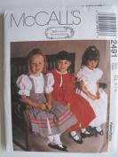 McCall's Pattern 2491 Girls' Jacket, Pinafore and Dress Sizes 6-7-8