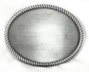 Handsome 10cm Brushed Finish Plain Oval Buckle Engraveable