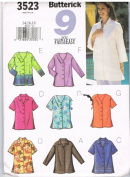 Misses Petite TOPS SIZES 14-16-18 BUTTERICK 9 SEW FAST & EASY PATTERN 3523
