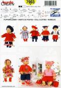 BURDA 7903 ~ DOLL CLOTHES SEWING PATTERN (BABY DOLLS 41cm - 46cm ) COAT, BOOTS, BERET, TOP, PANTS