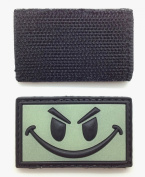 Smiley Face Glow in the Dark PVC IFF hook and loop Patch - Green