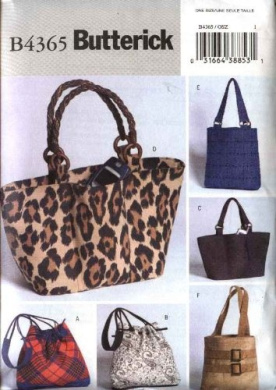 Butterick Sewing Pattern 4365 6 Lined Handbags Purses Totes Pocketbooks Bags Totebag