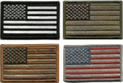 Bundle 4 Pieces - Tactical USA Flag Patches - Multi-coloured