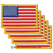 American Flag Patch (Bright Gold Border) 5 PACK