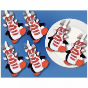 Penguins Silverware Pockets Felt Applique Kit-10cm x 15cm Set Of 6