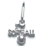 I Love Softball Zipper Pull - 6pc