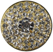 Rhinestone Button BRB-105, 2.5cm Gold Resin Base Button, Each Carded