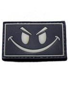 Glow in the Dark Smiley Face PVC hook and loop Morale Patch