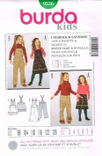 Burda Kids Bibbed Skirt & Overalls Sewing Pattern 24220cm Sizes 3 - 8
