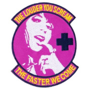 "Pink ""Scream Faster"" Medic Matrix hook and loop Morale Patch"