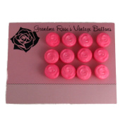Grandma Rose's Vintage Buttons 12 Pink Swirl Shank Plastic Buttons 1.9cm