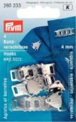 PRYM 265233 Skirt and trouser waistband fasteners silver-coloured; mouth width 4mm, 4 pieces
