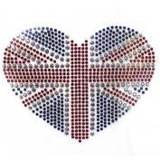 Rhinestone Iron on Transfer Hot Fix Motif Heart Love Deco Fashion Design 3 Sheets 4.1*7.9cm