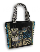 Laurel Burch 8-1/2 by 21cm by 7cm Medium Tote with Zipper Top, Spotted Cats