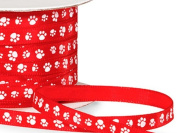 Single Faced Satin Paw Print Ribbon 0.6cm Red with White Paw Print - 50 Yard Roll