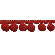 Pompom Fringe 2.5cm Polyester Fringe Rolls for Arts and Crafts, 10-Yard, red