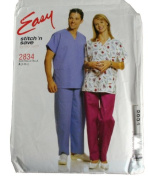 Easy Stitch 'N Save by McCall's 2834 Pattern Misses and Mens Top and Pull On Pants Size S,M,L