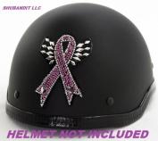 #1113 Pink Breast Cancer Ribbon Awareness Rhinestone Helmets Bling Sticker 3m Peel Stick Helmet Patches H & d Harley Davidson Half Shell Helmet Sticker Patch
