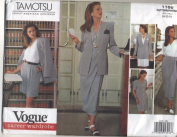 Vogue Tamotsu Career Wardrobe Jacket, Dress, Top, Skirt and Shorts Sewing Pattern # 1166