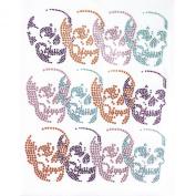 Rhinestone Transfer Hot Fix T-shirt Clothing Crafts Cushion Multi-colour Skull Deco Design 1 Sheets 7.8 * 25cm