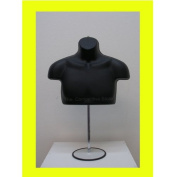 Black Male Upper Torso Mannequin Form W/ Metal Base - Countertop Display