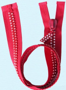 60cm Rhinestone Zippers ~ Separating ~ Czech Rhinestone Zipper ~ Dual-strand ~ Hot Red