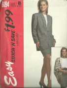 Misses Lined Or Unlined Jacket, Blouse And Skirt, Size