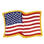 USA Waving - Gold Border Patch - 10cm Dia. - 10 Pack