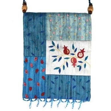 Yair Emanuel Pomegranate Design Blue Patched Applique Embroidered Bag