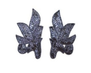 Beaded Matching Leaf Applique (Pair) By Shine Trim - Hematite
