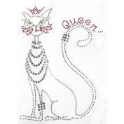 Rhinestone Iron on Transfer Hot Fix Motif Fashion Queen Cat Deco Design 3 Sheets 5.9*21cm