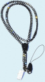 38cm Black Rhinestone Zipper Lanyard