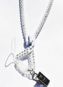 38cm White Rhinestone Zipper Lanyard